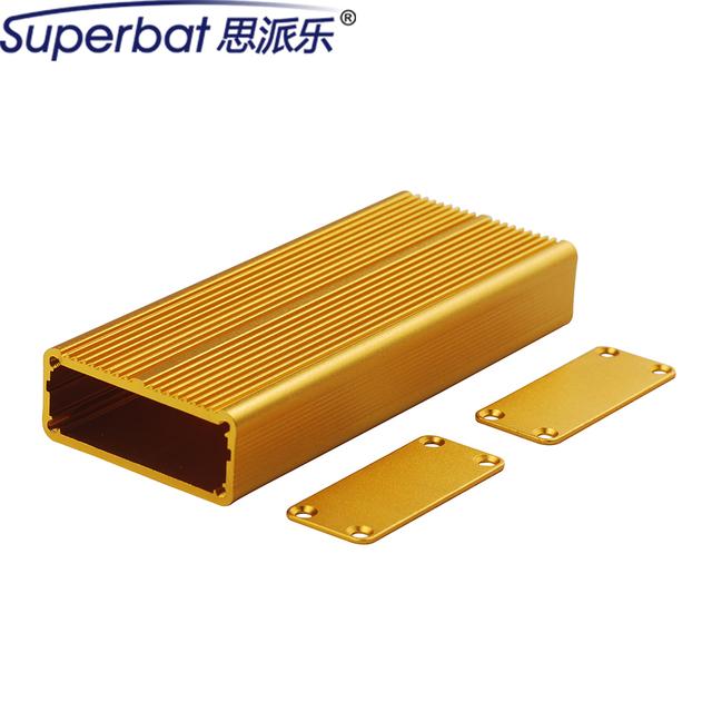 """Superbat Oro Amarillo Caja Caja 0.73 """"* 1.77"""" * 4.33 """"Caja de Instrumentos Electrónicos Amplificador DIY PCB 18.5x45x110mm"""
