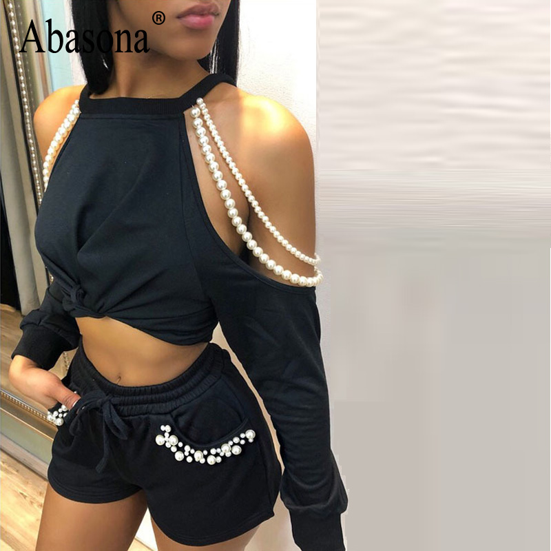 Abasona Off Shoulder Knot Front Romper Women Scoop Neck Pockets 2 Pieces Solid Playsuits 2018 Boho Rompe