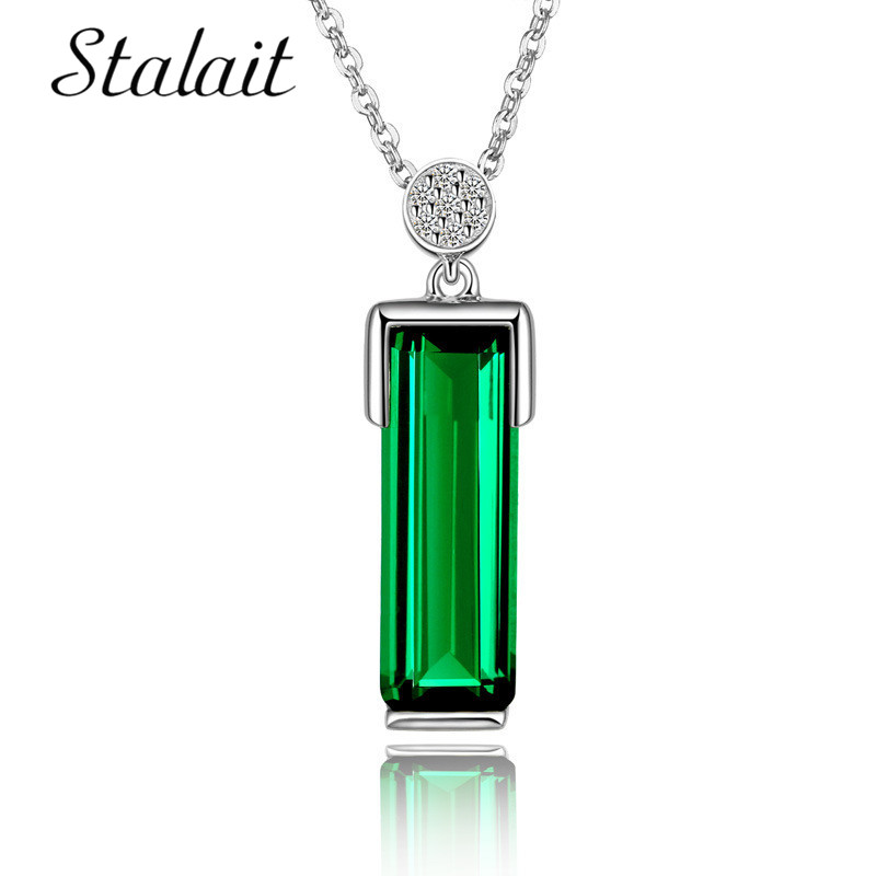 Green Fashion Square Stone Pendant Necklace Silver Color Rectangle With Long Chain Necklace for Women Gift