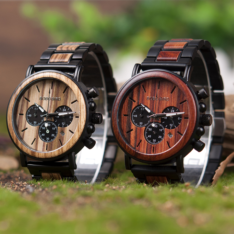 BOBO Bird Natural Wooden Chronograph Watch + Gift Box 21