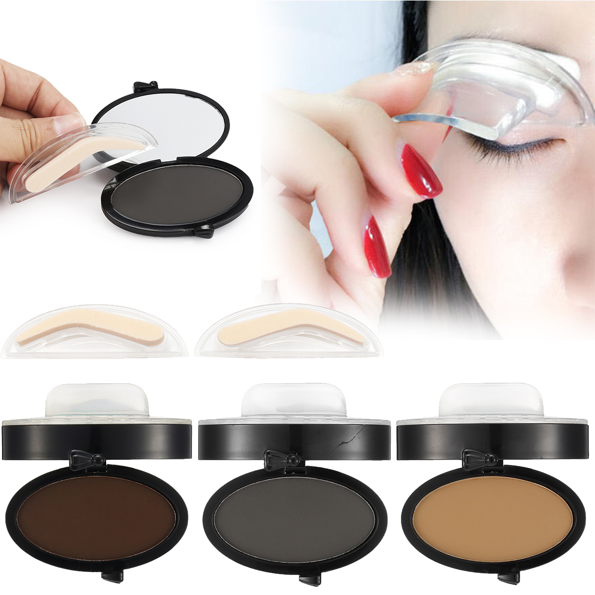 Beauty Essentials Eyebrow Enhancers Diligent Huamainli Eyebrow Template Stamp Sponge Stencils Eye Lazy Quick Makeup Tool Seal Cream