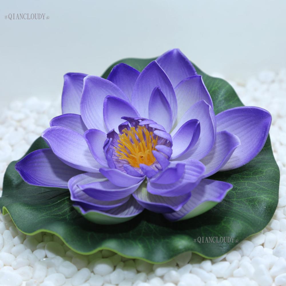 Wholesale Lots Purple Artificial Fake Lotus Flowers Water Pond