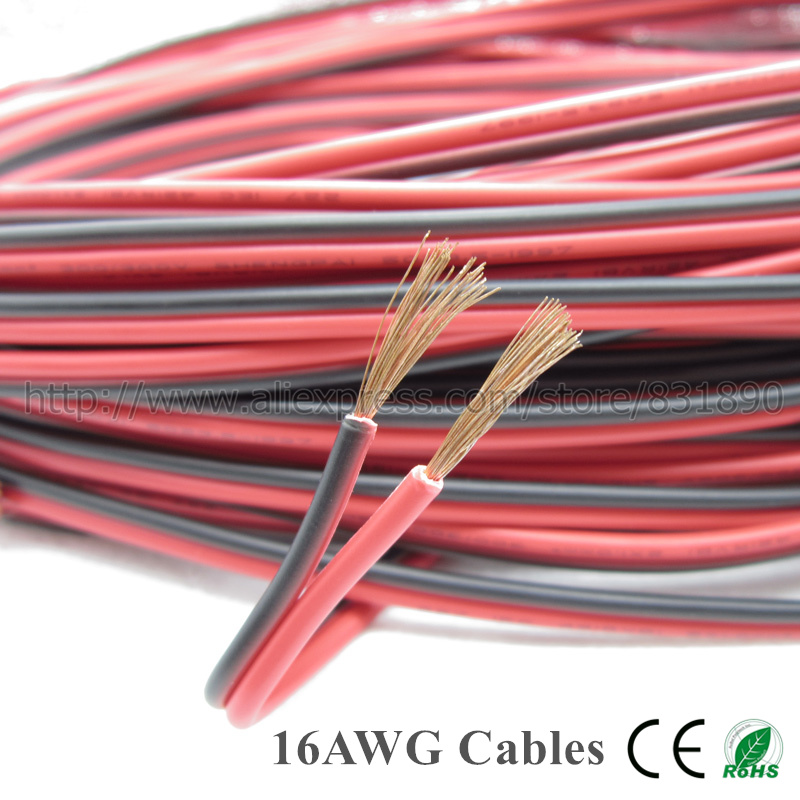 10 mt led 2 Pin kupferdraht 22AWG 20AWG 18AWG 16AWG IEC RVB PVC ...