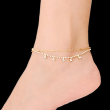 2016 Newest Sexy Beach Rhinestones Anklets for Women Star Gold and Silver Plated Bracelet on The Leg AK-004