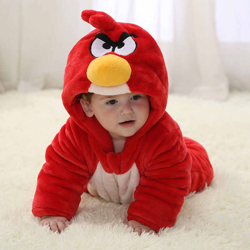 2017 зимний комбинезон Детский комбинезон с рисунком Красной птицы, хлопковый комбинезон, футболка с капюшоном для маленьких мальчиков, комбинезон для новорожденных, одежда