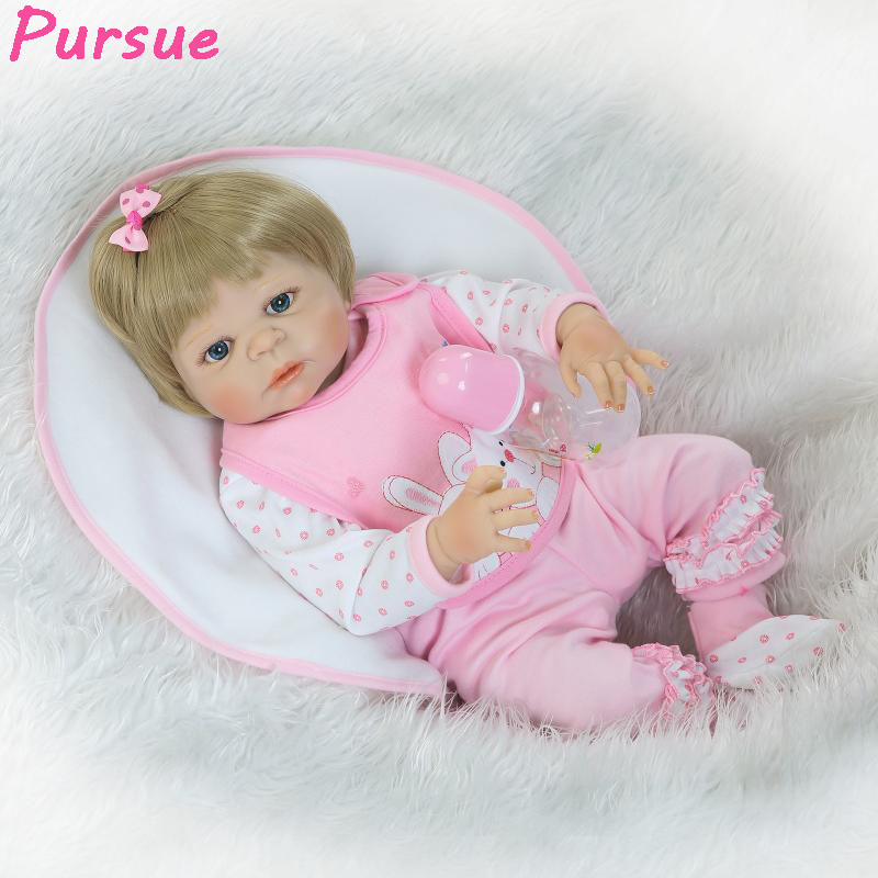 Pursue 55cm 100 Reborn Babies Soft Full Body Silicone Reborn Dolls 22 inch Baby Silicone Vinyl Reborn Lifelike Newborn Girl Doll pursue full body silicone reborn dolls baby reborn with silicone body dolls reborn whole silicone toys for girls reborn babies