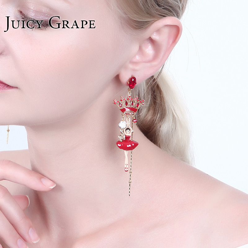 Crown Dancer Pendant Ballet Girl Series Enamel 925 Silver Needle Party Earrings For Women Luxury Jewellry Pendientes Mujer адаптер с внешней резьбой ergo 3 4