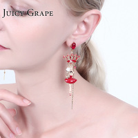 Crown Dancer Pendant Ballet Girl Series Enamel 925 Silver Needle Party Earrings For Women Luxury Jewellry Pendientes Mujer
