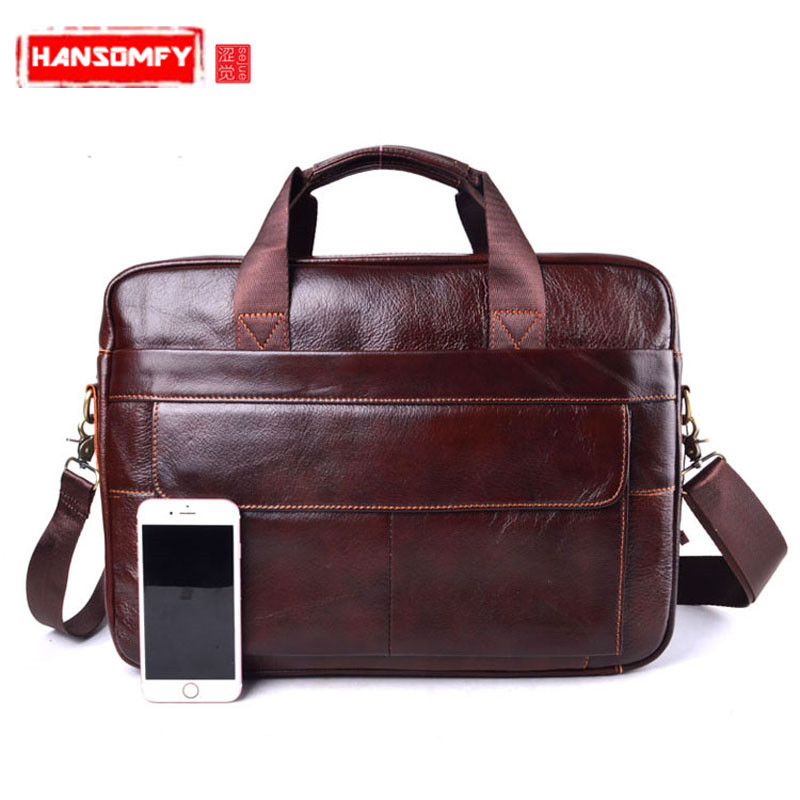 Men's Travel Brown Leather Handbags Business Briefcase Genuine Leather Cowhide Male Laptop Shoulder Bag Computer Messenger Bags