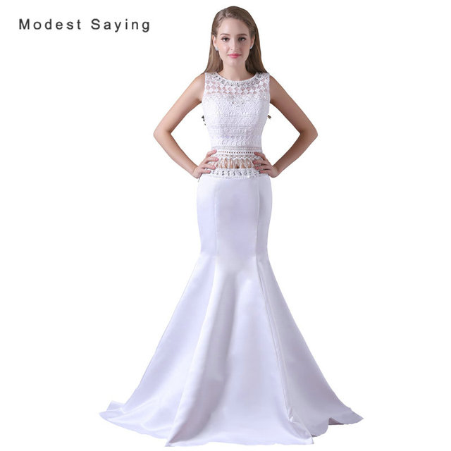 Elegant White Mermaid Crop Top Beaded Lace Prom Dresses 2017 with ...