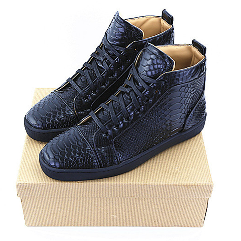 Hot New Black Color Men Shoes Front Lace Up Leather Shoes Rivets Embellished Snake Pattern Men Sneakers Spike Brand Men Flats hot brand woman sneakers white woman shoes front lace up casual shoes woman flats rivets embellished stylish sapato feminino