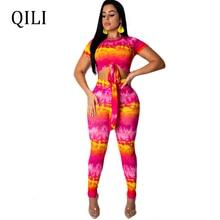 QILI Women Short Sleeve Two Piece Set Printed Jumpsuits Top+Skinny Long Pants Jumpsuit Romper 2 Fashion Casual