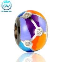 Sterling silver biżuteria kolorowe okrągłe emaliowane koraliki urok dla diy biżuteria ustalenia akcesoria marki amld017 gw biżuterii