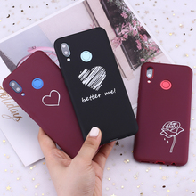 For Huawei Honor Mate 10 20 Nova P20 P30 P Smart Burgundy Heart Roses Tears Candy Silicone Phone Case Cover Capa Fundas Coque