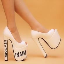 2015 Fetish High Heels 18cm Chunky Heeled Shoes Woman Platform Peep Toes Sexy Black White Pumps