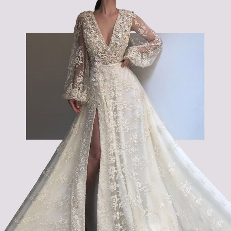 Lace Muslim Evening Dresses 2019 A-line V-neck Long Sleeves Slit Beaded Long Islamic Dubai Saudi Arabic Long Formal Evening Gown