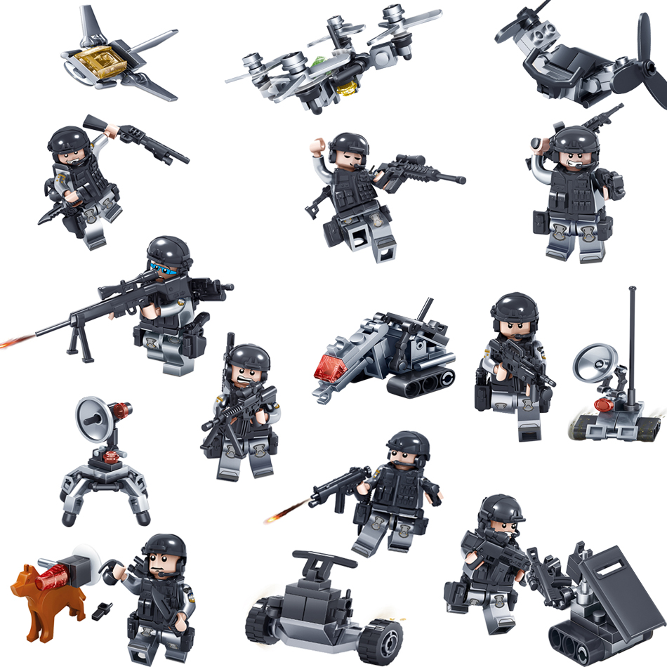 Kazi 9sets/lot Swat Team Police Building blocks Bricks Figures Weapon Compatible Legoe Set City Brinquedos Toys For Children Kid