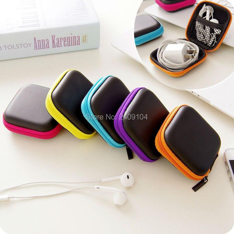 bilder für 500 stücke Kopfhörer Draht Kabel Aufbewahrungsbox Zipper Schutzhülle Datenleitung batterie Vorratsbehälter Organizer Fall Earbuds Sd-karte Box