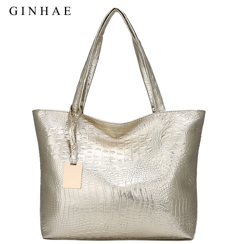 GINHAE <font><b>Women</b></font> <font><b>Big</b></font> <font><b>Bag</b></font> Soft Pu Leather Crocodile <font><b>Women</b></font> Handbag Large Capacity <font><b>Shoulder</b></font> <font><b>Bags</b></font> <font><b>For</b></font> <font><b>Women</b></font> <font><b>2018</b></font> Fashion Tote Sac A Main image