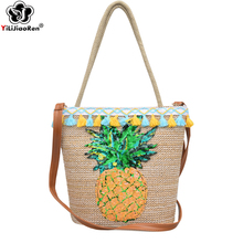 Fashion Rattan Woven Straw Handbags Summer Beach Bag Large Tote Women Bohemian Shoulder Luxury Bags Designer