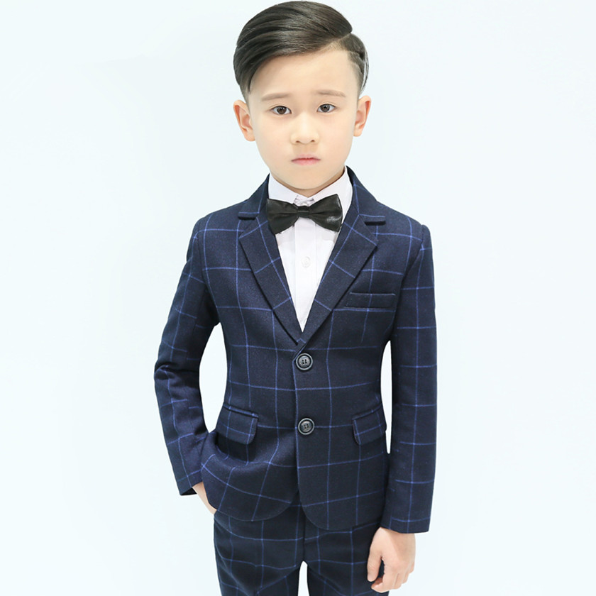 Brand Kids 5PCS Formal Suit with Bow 2018 Boys Blazer Plaid Wedding Suits Boys Party Tuxedos Costume Single Button Suits S84017A
