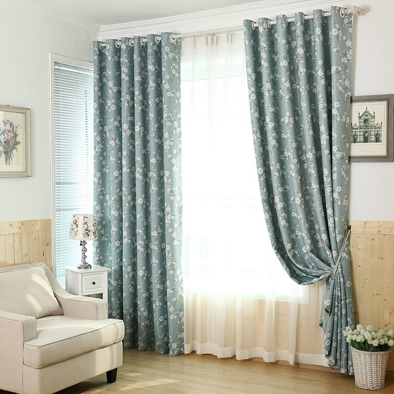 Fresh flowers green curtain korea living room bedroom for Fabrics for children s rooms