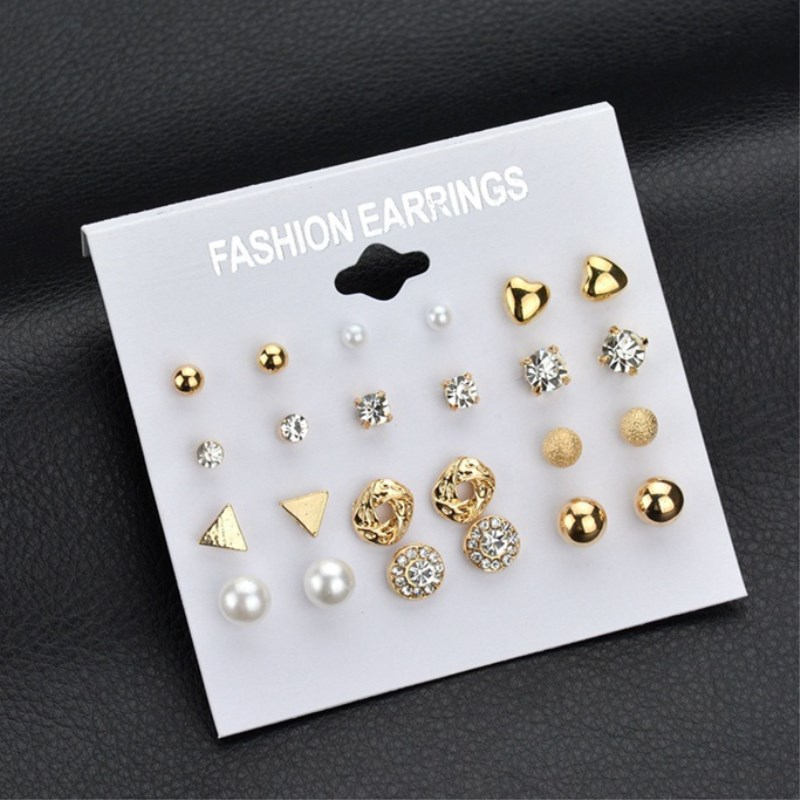 Fashion 12 pair/set Women Square Crystal Heart Stud Earrings for Women Piercing Simulated Pearl Flower Earrings gold earrings for women