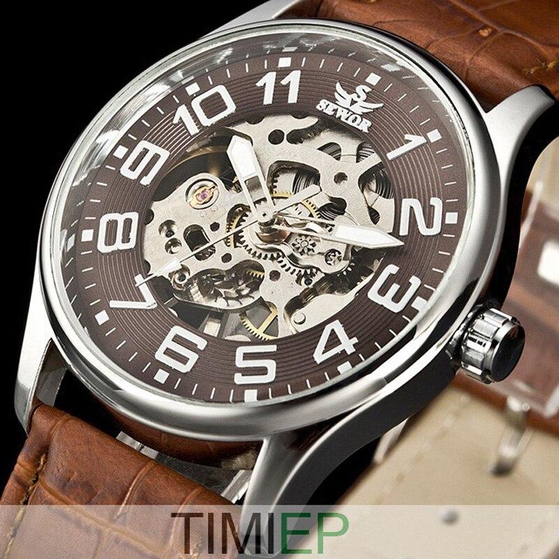 SEWOR Mens Gold Tone Skeleton Transparent Mechanical Watch Men fashion NEW wristwatch
