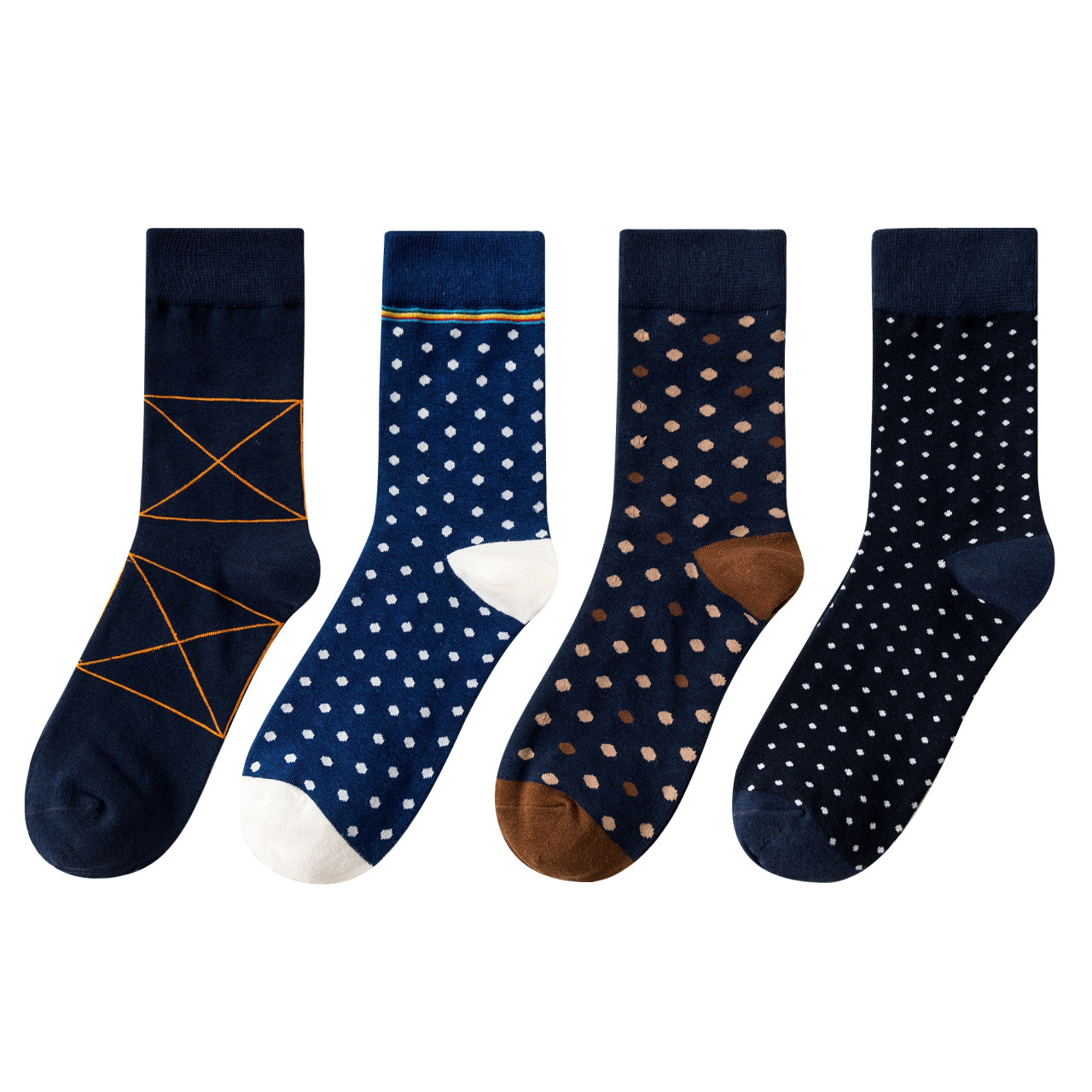 Man   Socks   4 Pairs 2018 New Autumn Casual   Socks   Man Long Men's Fashion Dots Warm Cotton Color   Socks   Funny High Quality