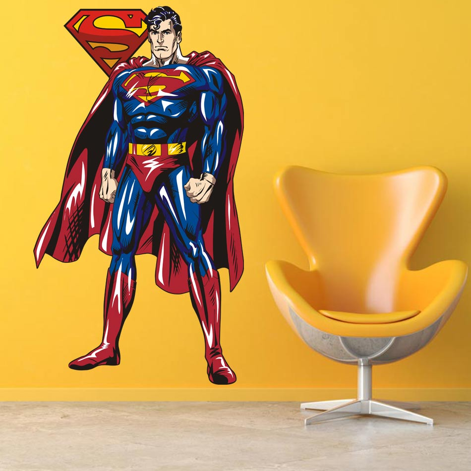 2017 SUPERMAN WALL STICKER Decor Decal Vinyl Room Art Comics Decals ...
