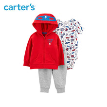 3pcs soft cotton superhero print cute slogan jacket set Carter's baby boy spring autumn clothing 121I882