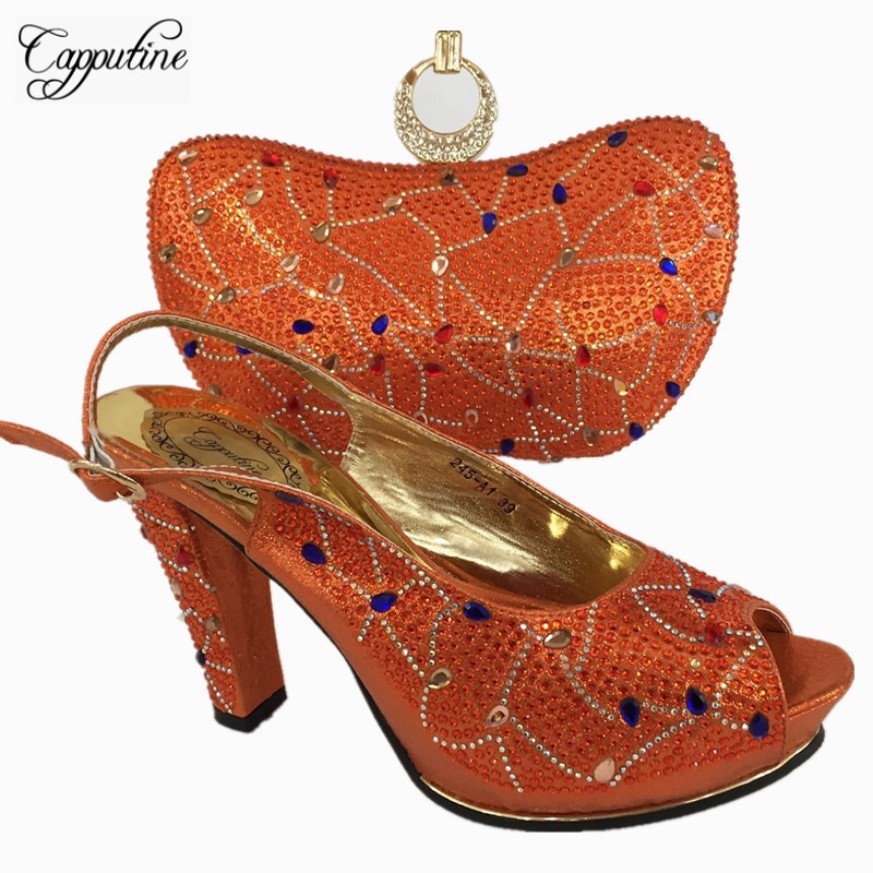Capputine Latest Italian Shoes With Matching Bags For Wedding Nigerian Style Women Wedding Shoes And Bag Set On Stock BL755C g36 wholesale gold wedding shoes and bag set hot selling latest african wedding lady shoes matching bag with stones