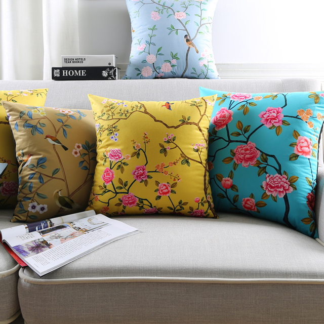 Us 11 99 25 Off Rose Flower Tree Birds Cushion Covers 12 Styles Chinese Style Candy Color Soft Pillow Baby Bedroom Sofa Decoration In
