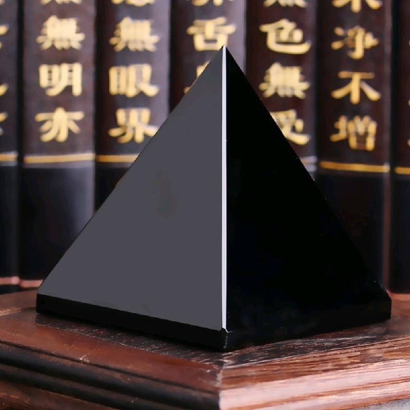 Pyramid vindecare Crystal Artizanat Negru Natural Obsidian cuarț - Decoratiune interioara - Fotografie 3