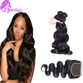 Unprocessed 8A Malaysian Body Wave Lace Closure With Hair Bundles 4pcs Malaysian Virgin Hair With Closure Human Hair Weave Sale