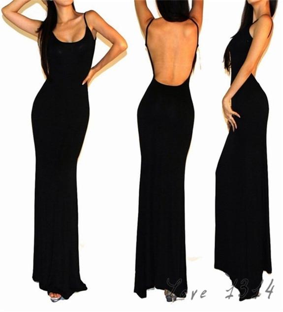fa8585069e17c7 nieuwe zomer vrouwen avondfeest jurk elegante lange jurk sexy backless tank  zwarte katoenen maxi jurk mouwloze