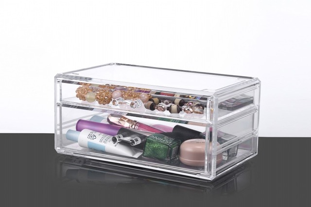 Acrylic Makeup Jewelry Organizer 2 draw Cosmetic Storage Display