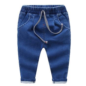 Nowa wiosna chłopców dżinsy dzieci dżinsy zgrywanie dżinsy dla dziewczyn dla dzieci dżinsy Denim spodnie nogi dla chłopców dziewcząt dziecko dżinsy bawełna 1-5Y tanie i dobre opinie Stranglethorn Na co dzień light Unisex Elastyczny pas REGULAR Stałe C19-02-027 Pasuje prawda na wymiar weź swój normalny rozmiar