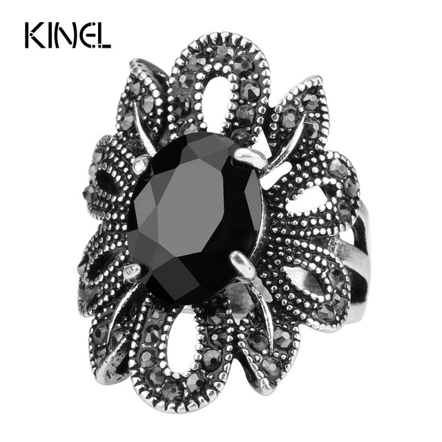 2017 Punk Rock Ring Jewelry Silver Color Ancient Ways Black Stones Hollow Out Female Personality Hipster Index Finger Rings