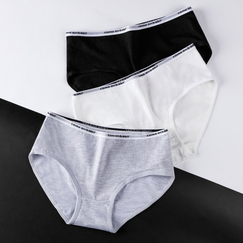 New 3pcs/lot Sexy Women's Cotton Underwears Briefs Ladies Letter Black   Panties   Breathable Underpants Girls Knickers for Female