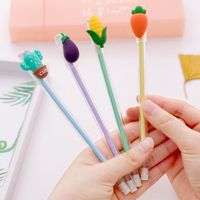 4 Piece Lytwtw's Korean Stationery Cute Cactus Vegetables Gel Pen School Office Supplies Kawaii Gift Handle Creative Carrot