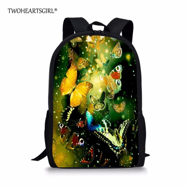TWOHEARTSGIRL Pretty Teen Girls Butterfly Backpack Beautiful Middle School  Girls Backpack Designer School Kids Bagpack Mochila f02b9d9f2bbd7