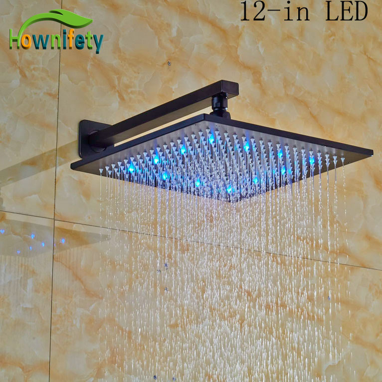 Bathroom Shower Head Sprayer Wall Mounted 12-in LED Shower Head Oil Rubbed Broze newly design oil rubbed broze tooth brush holder 2 ceramic cups wall mounted
