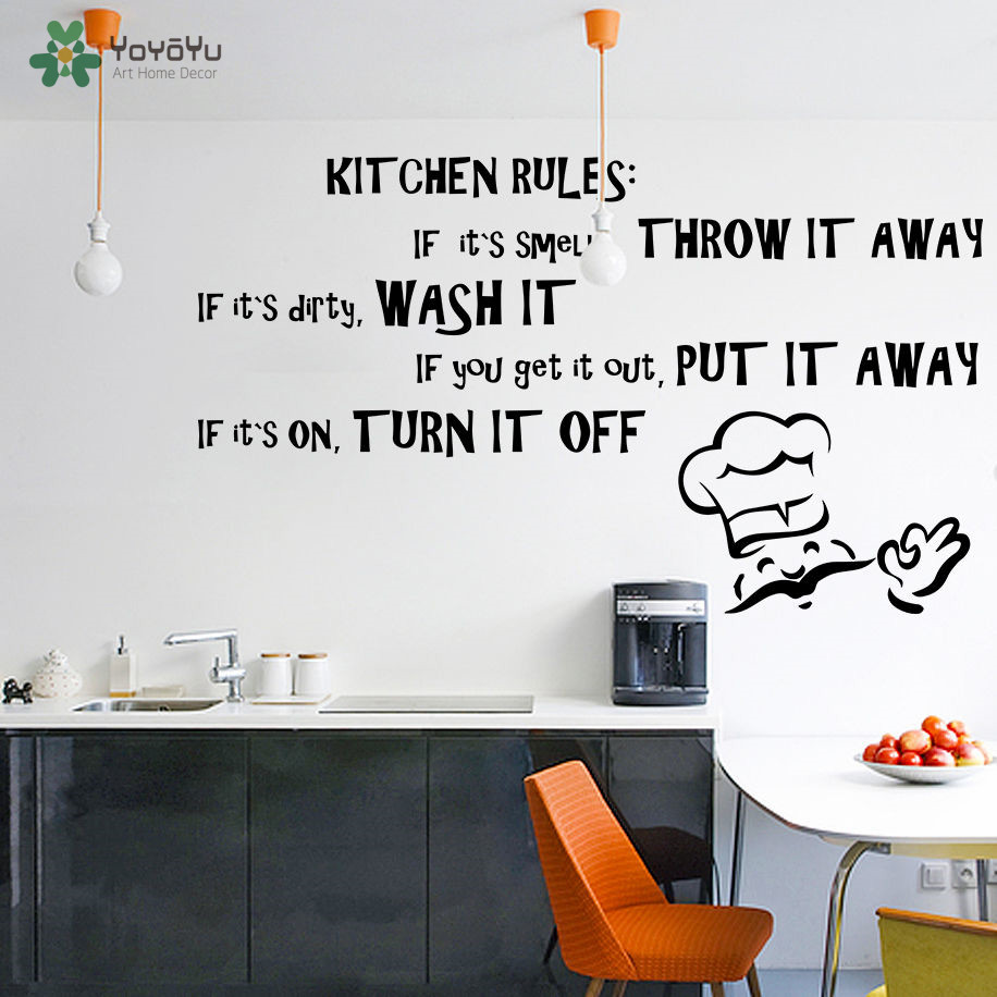 YOYOYU Wall Decal Vinyl Art Home Decor Quote Kitchen Rules Dining Room Text Room Decoration Removebale Wall Sticker YO524