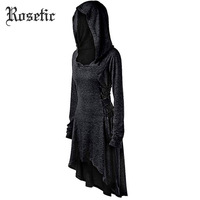 dc5994d40b Rosetic Dress Women Hooded Asymmetric Hem Solid Black Lace Up Long Hooded Autumn  Female Slim Gothic