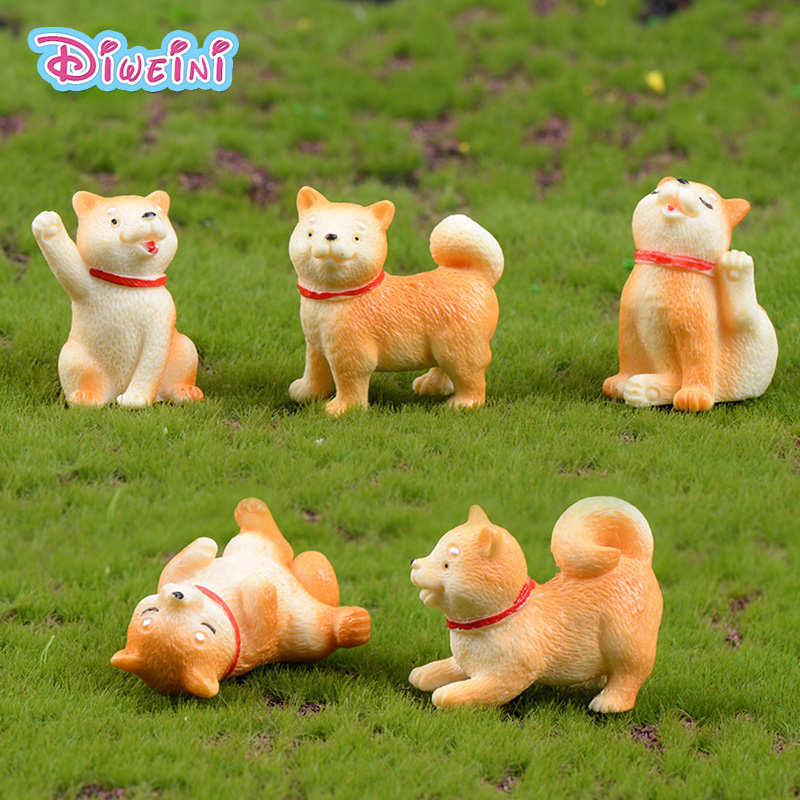 Akita Dog Yellow Puppy Model Animal Action Figures Miniature Figurine Home Garden Dollhouse Decoration DIY Accessory Toy Gift