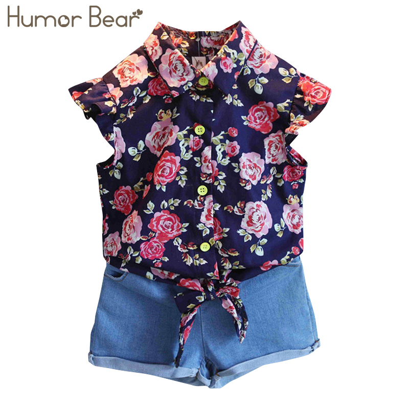 Humor Bear Baby Girls Clothing Sets Summer Style Flowers T-Shirt + Pants Children Clothing Casual Clothes Girls Set