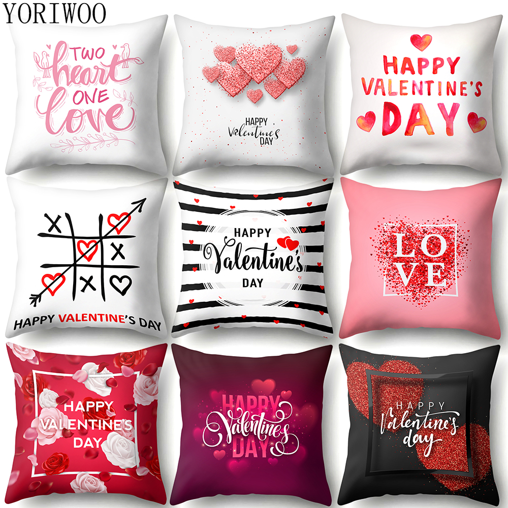 YORIWOO Romantic Valentines Day Gift For Girlfriend I Love You Pillow Case Cushion Cover Sweet Wedding Decoration Birthday Party image