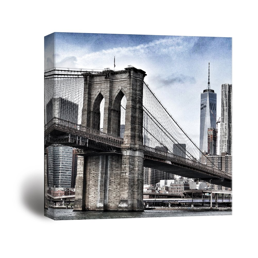 Us 2 8 40 Off Canvas Painting Wall Art 1 Panel New York Brooklyn Bridge Poster Prints Skyscraper Flatiron Building Pictures Modular Home Decor In