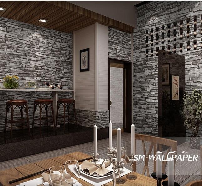 Factory Wholesale Interior Design Vinyl 3d Natural Brick Stone Wallpaper for Home Restaurant Decoration interior design vinyl 3d wallpaper for home decoration